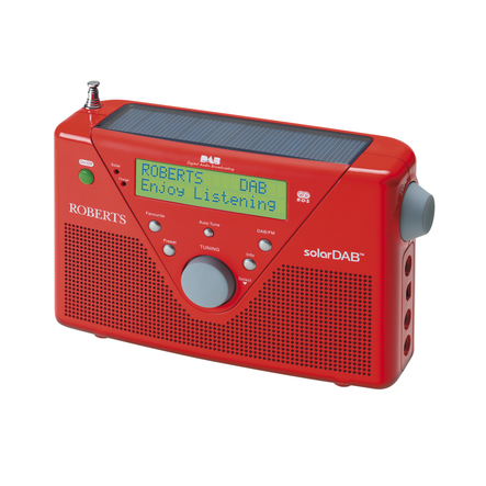 Roberts radio SolarDAB 2 DABFM RDS digital solar radio in Red