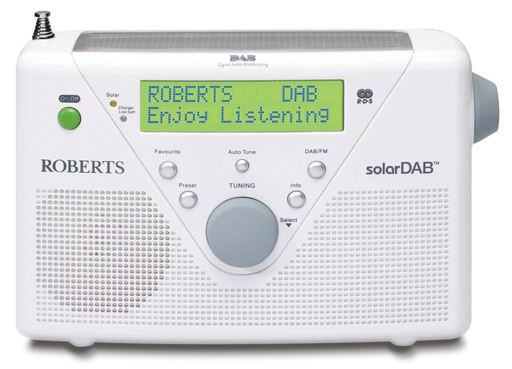 Roberts radio SolarDAB 2 DABFM RDS digital solar radio in White