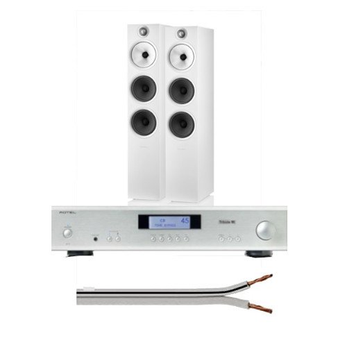 Rotel A11 Integrated Amplifier UK-EC Tribute Silver With Bowers & Wilkins 603 S2 Anniversary Edition Floorstanding Loudspeaker (Pair) White