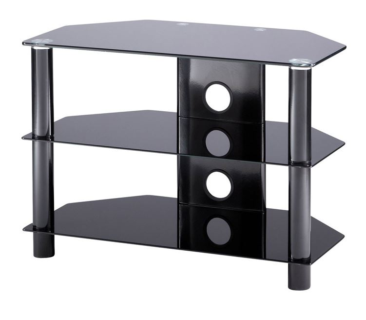 Image of Tru-Vue TRU800-BK Small Black Glass TV Stand for TVs up to 42 inch