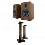Acoustic Energy AE300 Real Walnut Wood Veneer Speakers And Matching Stands