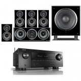 Denon AVRX2500HBKE2GB 7.2 Ch. 4K AV Receiver with Wharfedale Diamond 11-HCP Home Cinema Package in Black