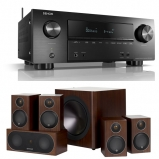 Denon AVRX2600H 7.2ch 4K Ultra HD AV Receiver with Monitor Audio Radius R90HT1 5.1 Speaker Package - Walnut