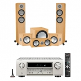 Denon AVCX6500H 11.2 Channel Network AV Receiver Silver with Monitor Audio Silver 200 AV12 5.1 Speaker Package Natural Oak
