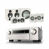 Denon AVCX6500H AV Receiver Silver with Monitor Audio Bronze 2 AV 5.1 Speaker package White Ash