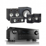 Denon AVRX2500H AV Receiver with Monitor Audio Bronze 2 AV 5.1 Speaker package Black Oak