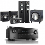 Denon AVRX2600H AV Receiver with Monitor Audio Bronze 5 AV 5.1 Speaker package Black Oak