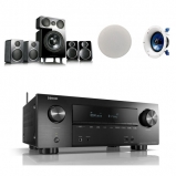 Denon AVRX2600H 7.2 AV Receiver with Wharfedale DX2 5.1 Speaker Package Black and Yamaha NSIC600 Ceiling Speakers Atmos Bundle