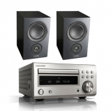 Denon RCDM41DAB Micro HiFi CD Receiver Silver with Mission LX2 Bookshelf Speakers Black Wood