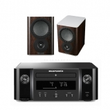 Marantz MCR412 True HiFi CD System Black with Mission QX1 Bookshelf Speaker Pair Walnut