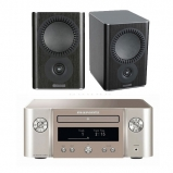 Marantz MCR412 True HiFi CD System Silver with Mission QX1 Bookshelf Speaker Pair Black