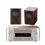 Marantz MCR412 True HiFi CD System Silver with Mission QX1 Bookshelf Speaker Pair Rosewood