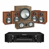 Marantz NR1509 Black 5.2 Channel AV Receiver with Monitor Audio Bronze 1 AV 5.1 Speaker package Walnut