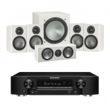 Marantz NR1509 Black 5.2 Channel AV Receiver with Monitor Audio Bronze 1 AV 5.1 Speaker package White Ash