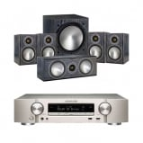 Marantz NR1509 Silver 5.2 Channel AV Receiver with Monitor Audio Bronze 1 AV 5.1 Speaker package Black Oak