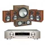 Marantz NR1509 Silver 5.2 Channel AV Receiver with Monitor Audio Bronze 1 AV 5.1 Speaker package Walnut