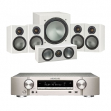 Marantz NR1509 Silver 5.2 Channel AV Receiver with Monitor Audio Bronze 1 AV 5.1 Speaker package White Ash