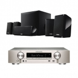Marantz NR1509 Silver Gold  5.2 Channel AV Receiver  in Silver with NSP41 5.1 Speaker package in Black