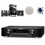 Marantz NR1609 7.2 AV Receiver Black with Wharfedale DX2 5.1 Speaker Package Black and Yamaha NSIC600 Ceiling Speakers Atmos Bundle