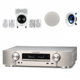 Marantz NR1609 7.2 AV Receiver Silver with Wharfedale DX2 Speaker Package White and Yamaha NSIC600 Ceiling Speakers Atmos Bundle