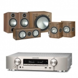 Marantz NR1609 Silver AV Receiver with Monitor Audio Bronze 2 AV 5.1 Speaker package Walnut