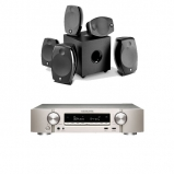 Marantz NR1609 Silver Gold AV Receiver with HEOS in Silver and Focal Sib Evo 5.1.2 Home Cinema System in Black
