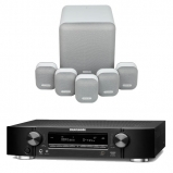 Marantz NR1710 Slim 7.2Ch AV Receiver Black with Monitor Audio Mass 5.1 Gen 2 Surround Sound Speaker System in Mist White