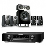 Marantz NR1710 Slim 7.2Ch AV Receiver Black with Wharfedale DX-2 5.1 Speaker Package Black