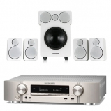 Marantz NR1710 Slim 7.2Ch AV Receiver Silver with Wharfedale DX-2 5.1 Speaker Package White