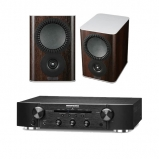 Marantz PM5005 Integrated Amplifier Black with Mission QX1 Bookshelf Speakers Pair Walnut