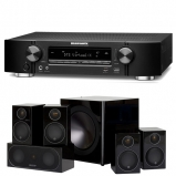 Marantz NR1609 Black Slim 7.2 Channel AV Receiver with Monitor Audio Radius R90HT1 5.1 Speaker Package - Black