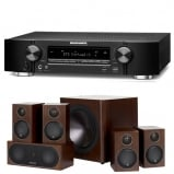 Marantz NR1609 Black Slim 7.2 Channel AV Receiver with Monitor Audio Radius R90HT1 5.1 Speaker Package - Walnut