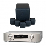 Marantz NR1609 Silver AV Receiver with Monitor Audio Mass 5.1 Gen 2 Surround Sound Speaker System in Midnight Black