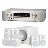 Marantz NR1609 Silver Gold Slim 7.2 Channel AV Receiver with Monitor Audio Radius R90HT1 5.1 Speaker Package - White