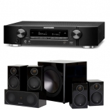 Marantz NR1710 Slim 7.2Ch 4k Ultra HD AV Receiver with Monitor Audio Radius R90HT1 5.1 Speaker Package - Black