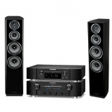 Marantz PM8006 HiFi Amplifier with ND8006 Network CD Player in Black and Wharfedale Diamond 11.4 Floorstanding Speakers in Black
