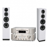 Marantz PM8006 HiFi Amplifier with ND8006 Network CD Player in Silver and Wharfedale Diamond 11.4 Floorstanding Speakers in White