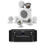 Marantz SR7013B AV Receiver in Black with HEOS and Focal Dome Flax 5.1.2 Home Cinema System in White