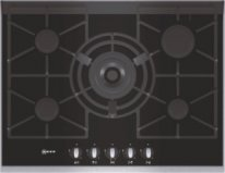 Neff T67S76N1Extra wide gas hob on black ceramic glass with stainless steel trim
