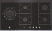 Neff T69S86N0 Extra wide gas hob on Black ceramic glass with stainless steel trim