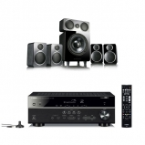 Yamaha MusicCast RXV485 5.1 Channel AV Receiver with Wharfedale DX2 Speaker Package Black