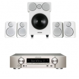 Marantz NR1509 Silver Gold 5.2 Channel AV Receiver with Wharfedale DX-2 5.1 Speaker Package White