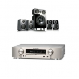 Marantz NR1609 Silver Gold AV Receiver With Heos Silver Plus Wharfedale DX-2 5.1 Speaker Package Black