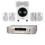 Marantz NR1609 Silver Gold AV Receiver with HEOS Plus Wharfedale DX-2 5.1 Speaker Package White
