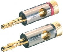 Vivanco 8/28G-N EDP41085 Gold Speaker Banana Plugs (Pair)