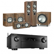 Denon AVCX6500H Black AV Receiver Black with Monitor Audio Bronze 5 AV 5.1 Speaker package Walnut