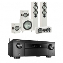 Denon AVCX6500H Black AV Receiver Black with Monitor Audio Bronze 5 AV 5.1 Speaker package White Ash