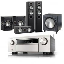 Denon AVCX6500H AV Receiver Silver with Monitor Audio Bronze 5 AV 5.1 Speaker package Black Oak