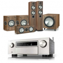 Denon AVCX6500H AV Receiver Silver with Monitor Audio Bronze 5 AV 5.1 Speaker package Walnut