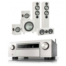 Denon AVCX6500H AV Receiver Silver Monitor Audio Bronze 5 AV 5.1 Speaker package White Ash